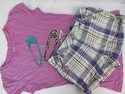Girls Justice L 14 14S Slim T Shirt Top Plaid Shorts 2 Pc Set Summer Outfit Lot