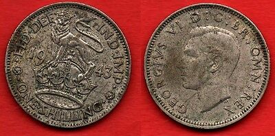 GREAT BRITAIN UK : 1 Shilling 1943 King George VI Nice Silver Coin Argent