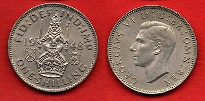 GREAT BRITAIN SCOTLAND : 1 Shilling 1948 King George VI Very Nice Quality Coin