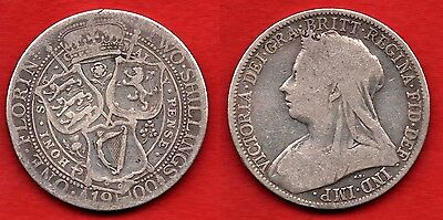 GREAT BRITAIN UK : 1 Florin 1900 Queen Victoria Nice Silver Coin Argent Rare