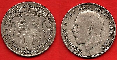 GREAT BRITAIN UK : Half Crown 1921 King George V Nice Silver Coin Argent Rare