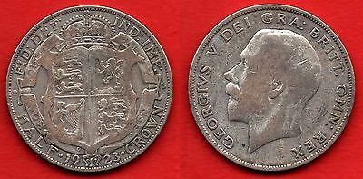 GREAT BRITAIN UK : Half Crown 1923 King George V Nice Silver Coin Argent Rare