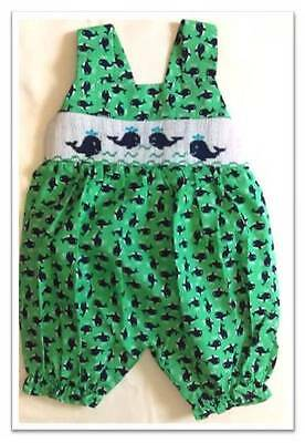 New NWT smocked baby bubble one piece romper summer whales 6M by Cukees
