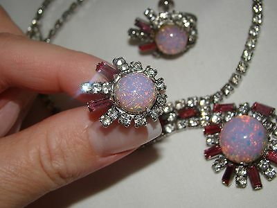 Vtge Duane Silver Clear Pink Baguette Rhinestones Moonglow Necklace Earrings Set