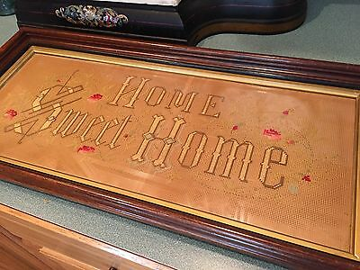 "VTG Needlepoint Embroidery ""HOME SWEET HOME"" in Wood Frame ANTIQUE RESTORED"