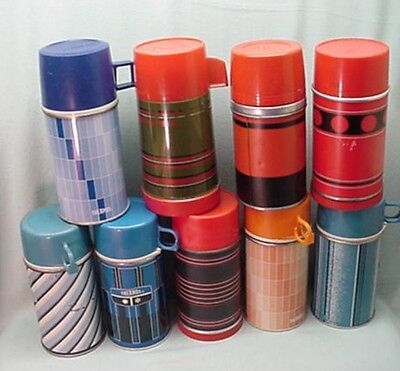 Vintage lot of 9 metal  thermos bottles glass liners, for lunch box