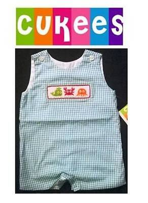 New NWT Smocked Romper Jumpsuit one piece short Summer overall by CUKEES 12m