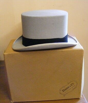 Vintage grey fur felt  top hat wedding formal wear Ascot size 6 7/8 UK with box