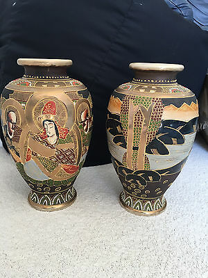 """Pair of 12"""" Hand Painted Moriage Satsuma Vases"""