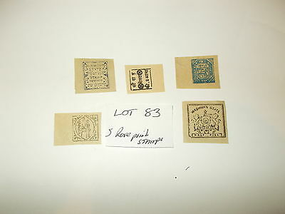 Stamps GB 5 Rare old world stamps on paper L083