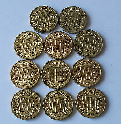 GB Brass Threepence 3d Coins mostly UNC 12 coins QE II