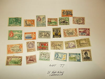 Stamps GB 25 High Value Old World Commonwealth Stamps L077