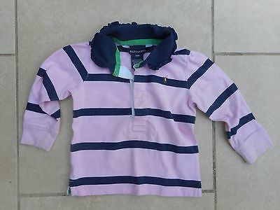 Ralph Lauren Girls L. Sleeve  Pink/navy Rugby Shirt* Polo Pony Logo 12-18 Months