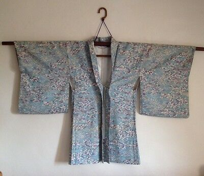 Vintage Haori Japanese Kimono Jacket cherry blossom autumn leaves pink blue