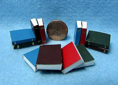 Dollhouse Miniature Book Set of 12 with Pages and Leather Covers ~ IM65771