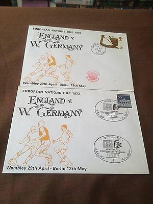 2 X England V West Germany – Commemorative Cover – European Nations Cup 1972