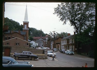 Original Kodak 35mm slide 1960 Street Scene - Vintage cars and a church
