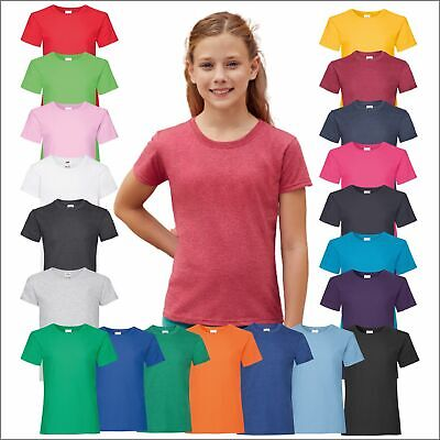 Fruit of the Loom Girls Valueweight 100% Cotton Tshirt Tee Shirt T-Shirt Top Lot