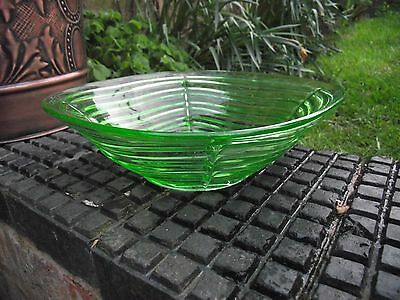 Sowerby ? Czech ? Uranium Green Art Deco Glass Fruit / Trifle Bowl - Vintage