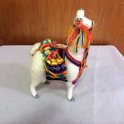 "Alpaca Toy 4"" Wound Fabric, Hand Crafted, Peru, Approximately 5.25"" High"