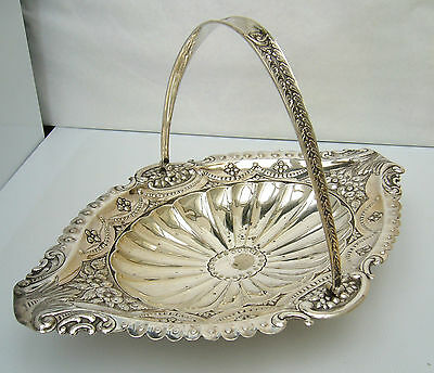 Wm Hutton & Son Silver Plated Swing Handle Basket 1860's