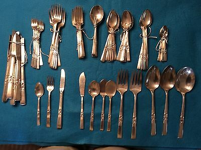 Large  Set Silver Plate Flatwear by Community, Morning Star Pattern