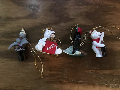 Set 4 Coca Cola Trim A Tree Collection Ornaments Polar Bears Seal and Penguins