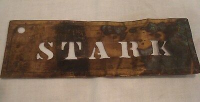 "Antique Maine Brass Apple Crate Shipping Stencil ""STARK""  Ships FREE!"