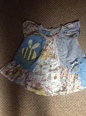 Next baby girls blue patterned summer dress age 12-18 months