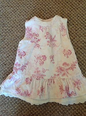 La Petite Ourse baby girls white floral dress age 12 months