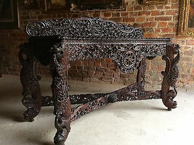 Fabulous Antique Anglo-Indian Carved Hardwood Console Side Table 19th Century