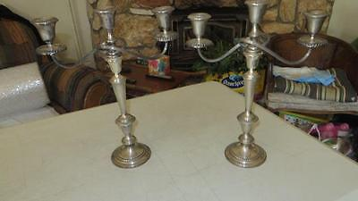 """Pair Vintage Gorham Sterling Silver 3-Arm Convertible Candelabras 15 1/2"""" Tall"""