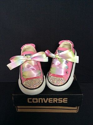 Crystal Custom Converse Pink Bling Baby/Toddler uk Infant Size 3