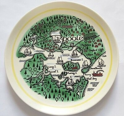 Vintage Poole Pottery 23cm 'Poole Harbour' Map Plate, by Robert Jefferson 1963