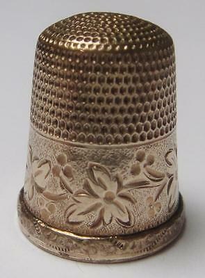 Antique Gold Filled THIMBLE by Simons Bros. with Wide Leafy Band