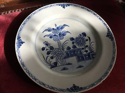 antique early 18th century chinese blue and white plate