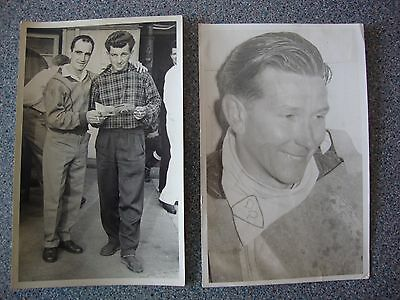 2 x ORIGINAL POSTCARD SIZE SPEEDWAY PHOTOS OF LEICESTER RIDERS 1953 + 59.