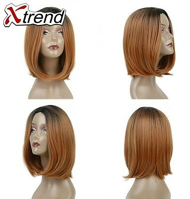 "Heat Resistant Synthetic Ombre Wig, 10"" dark brown Straight Bob Cosplay Hair UK"
