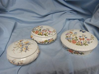 """AYNSLEY 3 trinket boxes 2 """"cottage garden"""" and 1 """"orchids"""""""