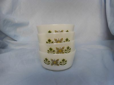 Anchor Hocking  4 small dishes with a green pattern