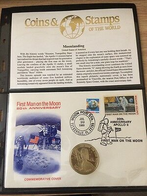 FDC Marshall Islands 20th Anniversary of First Man On The Moon + $5 coin 20/7/89