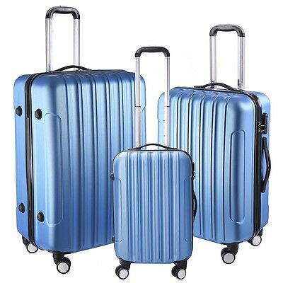 "Set 20"" 24"" 28"" Hard Shell Cabin Suitcase Case 4 Wheel Luggage Lightweight Blue"
