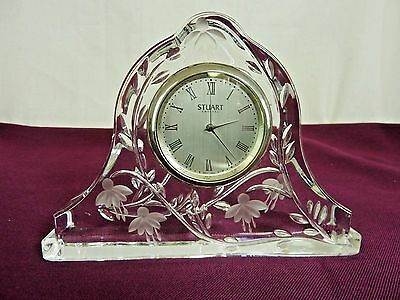 Stuart Crystal Cascade Clock Fuchsia  Pattern Working.                      #st#