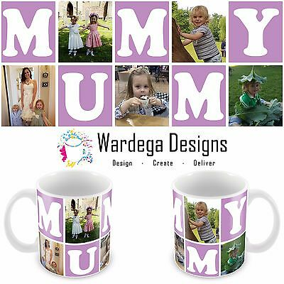 Personalised Mothers Day Mug 5 Photo Collage Birthday Gift Present Any Colour!