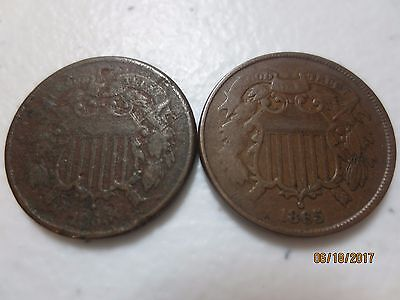 rare two different coin copper two cent piece lot 1865 1866