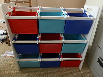 Childrens 3 Tier Storage Unit with canvas boxes