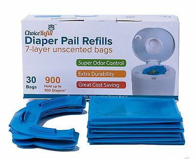 900 Pc Diaper Pail Refill Bags Snap Seal and Toss Compatible for Munchkin 30pack