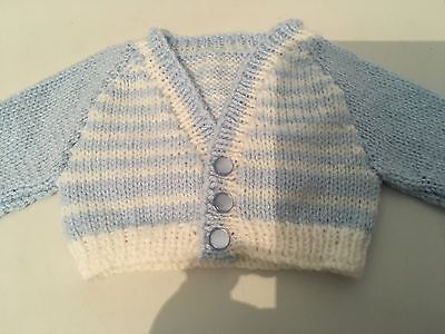 Prem Baby Blue & White Striped Cardigan Hand Knitted BN
