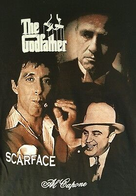 The Godfather / Scarface / Al Capone  M  Black  Vintage Deadstock  T Shirt  New