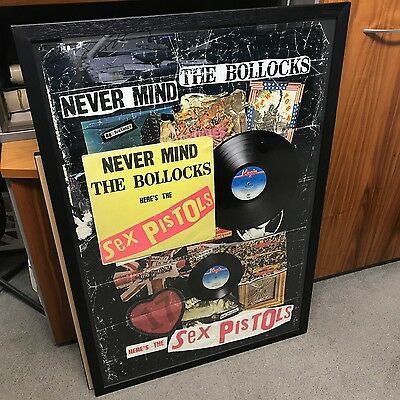 Framed Sex Pistols Genuine Spots 001 Lp + Single + Jamie Reid Collage Poster